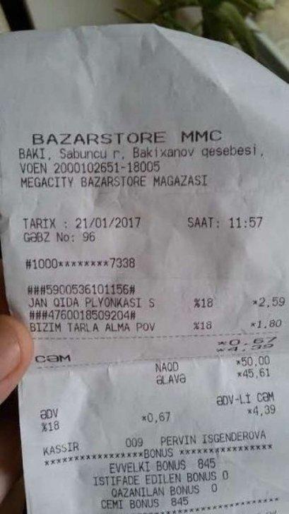 """""""Bazarstore"""" müştəriləri belə aldadır-FOTOLAR"""