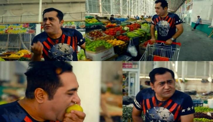 Elgiz Əkbər bazarda satıcı ilə dalaşdı: