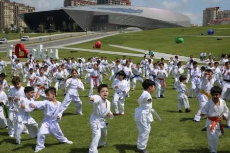 Rafael Ağayev Heydər Əliyev Mərkəzinin parkında karate dərsi keçdi