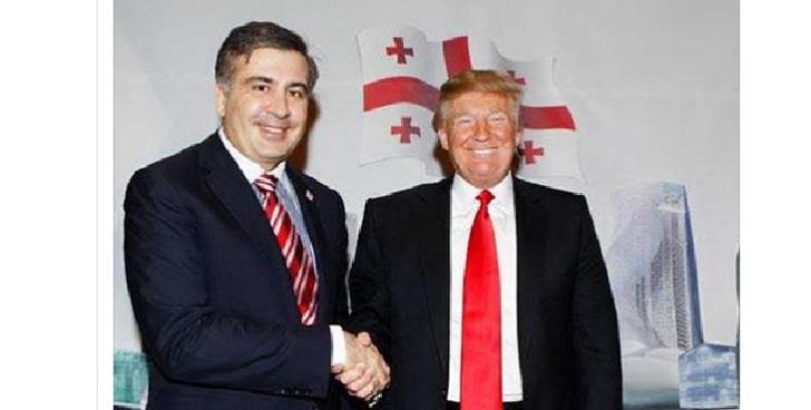 Saakaşvili Trampla şəklini paylaşıb Poroşenkoya söz atdı