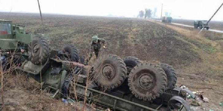 Ermənistan ordusunun hərbi maşını qəzaya uğradı: