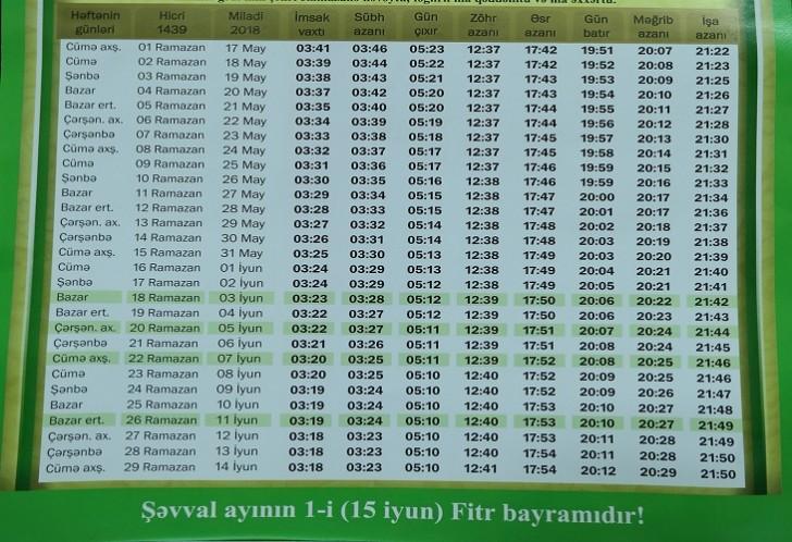 QMİ Ramazan təqvimini açıqlayıb