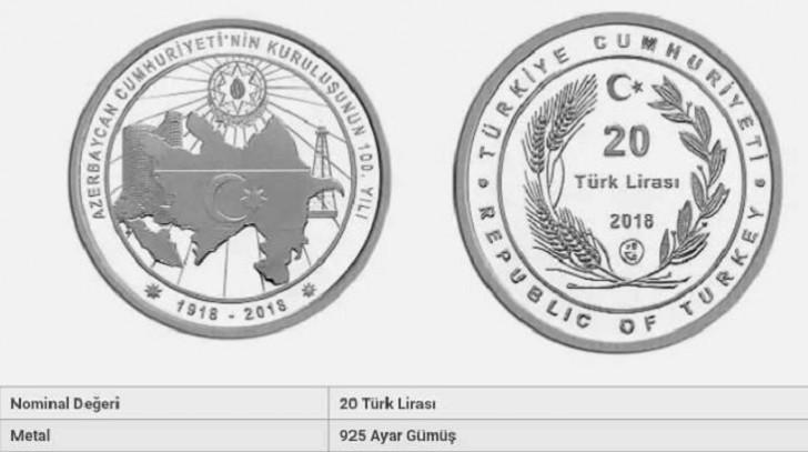 Türkiyədə Cümhuriyyətimizin yubileyi şərəfinə gümüş pul sikkəsi buraxılıb