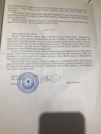 Məhkəmə kosmetoloq Elnarə barədə qərar verdi