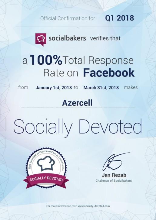 """""""Azercell"""" yenidən """"Socially Devoted"""" sertifikatına layiq görülüb"""
