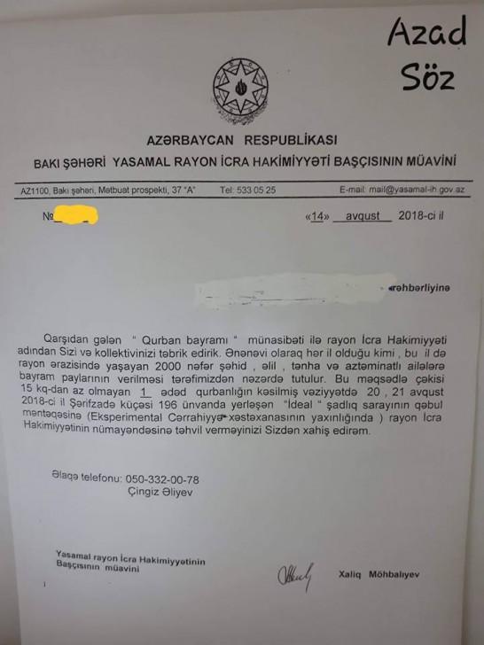 """Yasamal Rayon İcra Hakimiyyəti qurbanlıq """"dilənir""""?-"""