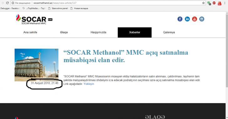 """""""SOCAR Methanol"""" batdıqca batır:"""