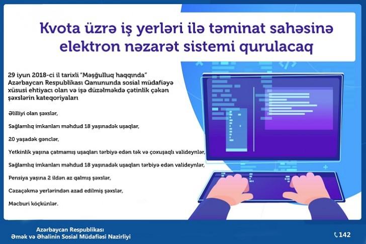 Kvota üzrə iş yerləri ilə təminat sahəsinə elektron nəzarət sistemi qurulacaq