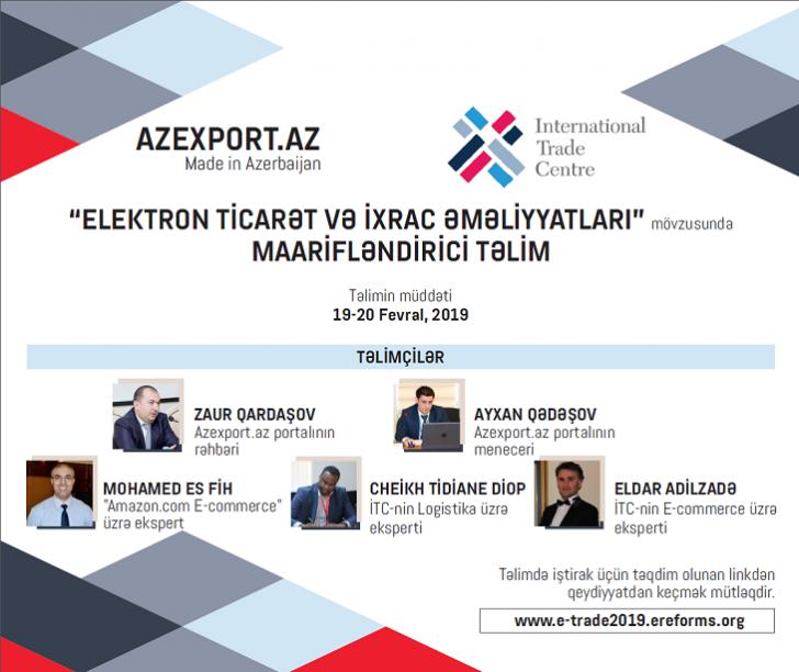 """Azexportun """"Elektron Ticarət"""" və """"İxrac prosedurları"""" mövzusunda təlimi davam edir"""