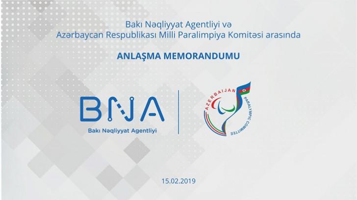 BNA ilə Milli Paralimpiya Komitəsi arasında memorandum imzalanıb