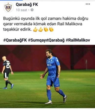 """""""Qarabağ"""" rəqib futbolçuya təşəkkür etdi-"""
