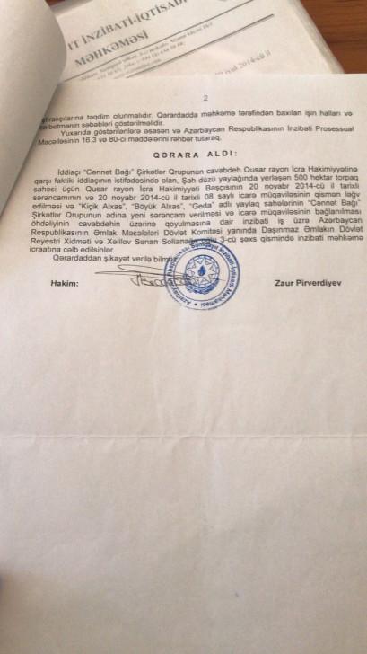 """""""Sədərək Yusif""""in PA-da işləyən oğlu kəndlilərin torpağını əlindən alır:"""