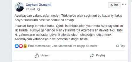 Ceyhun Osmanlıdan ilginc açıqlama: