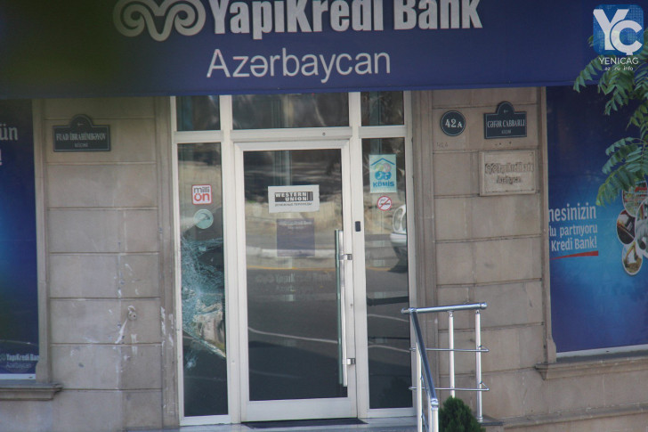 Bakıda avtomobil banka çırpıldı -