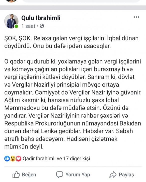 ŞOK İDDİA: deputat Vergilər Nazirliyinin əməkdaşlarını döydürüb -
