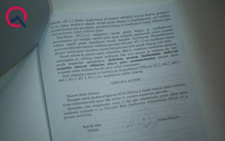 Məhkəmə Çingiz Qənizadənin prokuror oğlunun xitam qərarını ləğv etdi